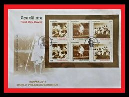072. BANGLADESH 2011 STAMP M/S MAHATMA GANDHI VISIT TO NOAKHALI FDC - Bangladesh