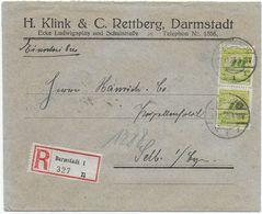 Infla - Einschreiben 19.11.1923 - Darmstadt Nach Selb - Vignette Pfeil Glühkörper - Alemania