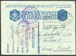 1942 Italy Cartolina Postale Per Le Forze Armate, Stationary Postcard. Fieldpost Censor Pianezza  - Azzate Torino - Military Mail (PM)