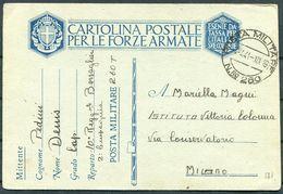 1941 Italy Cartolina Postale Per Le Forze Armate, Stationary Postcard. Libya Fieldpost Posta Militare 260 - Milano - Military Mail (PM)