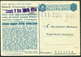1943 Italy Cartolina Postale Per Le Forze Armate, Stationary Postcard. Bologna Fieldpost Posta Militare 3200 - Sovizzo - Military Mail (PM)