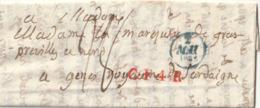 1833 Lettre De PARIS Pour GENES Cachet CF4R En Rouge + Taxe 28 + Voir Au Verso - 1801-1848: Vorläufer XIX