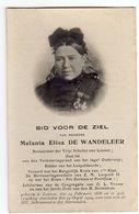 Doodsprentje VROUW FEMME Melania DE WANDELEER °1836 LEUVEN BESTUUR VRIJE SCHOLEN RIDDER LEOPOLDSORDE +1909 LEUVEN - Images Religieuses