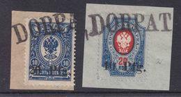 Dt.Bes.1.WK Ob.Ost Dorpat MiNr. 1-2 Gest. Briefstücke - Occupation 1914-18