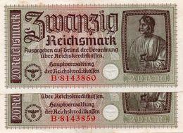 GERMANY-. 20 REICHSMARK 1940 **CIRC. XF+   P-R139  CONSECUTIVE - [ 4] 1933-1945: Derde Rijk