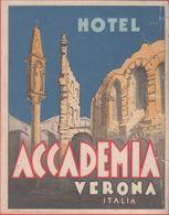 Etichetta Per Valigia. Hotel Accademia Verona.  Stampa 1931 - Etiquettes D'hotels