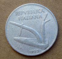 1953 R - ITALIA 10 Lire Aratro / Spighe - Circolata - 10 Lire
