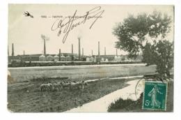 Imphy - Vue Générale De L'Usine (troupeau De Moutons Au Premier Plan Au Bord De La Rivière) Circulé 1912 - Autres Communes