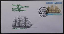 37  Belgique  Bateaux Voilier Amerigo Vespucci  Cachet 100 Jaar Zeehaven Brugge Zeebrugge 19 8 95 - Poststempel (Briefe)