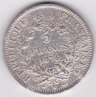 5 Francs Hercule 1874 A En Argent - Francia