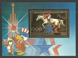 GUINEA 1983 OLYMPICS LOS ANGELES EQUESTRIAN HORSES GOLD FOIL M/SHEET MNH - Guinea (1958-...)