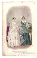 Gravure De Deux Dames Et Une Fillette Dans Un Salon En 1849 - Magasin Des Demoiselles - Stampe & Incisioni