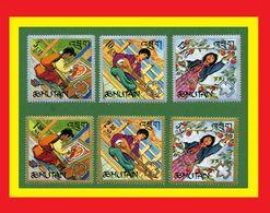 077.BHUTAN 1967 SET/6 STAMP GIRL GUIDES .MNH - Bhoutan
