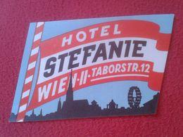 AUSTRIA ÖSTERREICH ETIQUETA LABEL ÉTIQUETTE ETIKETTE ETICHETTA HOTEL STEFANIE WIEN II VIENNA VIENA TABORSTR. 12 VER FOTO - Etiquettes D'hotels
