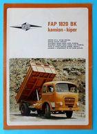 FAP FAMOS 1820 BK Tipper Truck ... Yugoslavian Original Vintage Sales Brochure * Large Size * Truck Camion LKW - Voitures