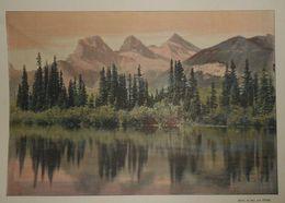 Canadian Pacific Railway. La Montagne Des Trois Soeurs Dans Le District D'Alberta. Photogravure Fin XIXe. - Stampe & Incisioni