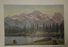 Canadian Pacific Railway. La Rivière De L'Arc Et La Montagne Du Vent. Photogravure Fin XIXe. - Stampe & Incisioni