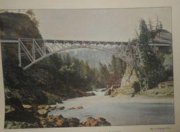 Canadian Pacific Railway. Pont Sur La Rivière Du Saumon En Colombie Britannique. Photogravure Fin XIXe. - Stampe & Incisioni