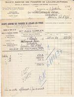 Jules Liblin , Fonderies à Luxeuil , Haute-Saône ,facture Et Relevé De 1937 - Francia