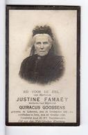 Doodsprentje VROUW FEMME Justine FAMAEY °1849 LOKEREN +1926 ZELE // GOOSSENS - Andachtsbilder
