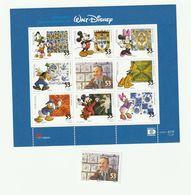 Portugal - 2001 - Bloc Feuillet De 9 Timbres Walt Disney + 1 Timbre Neufs ** / MNH - Blocks & Kleinbögen