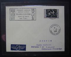 Nouvelle Calédonie Nouméa 1958 Premier Service Aérien Direct Nouméa Bora Bora Route De Tahiti  : Lettre Plastifiée ! - Lettres & Documents