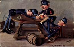 Artiste Cp Hildebrandt, Fritz, Vaterlandsverteidiger, Bier - Jeux Et Jouets