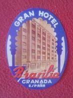 ESPAÑA ESPAGNE SPAIN ETIQUETA LABEL ÉTIQUETTE ETIKETTE ETICHETTA HOTEL BRASILIA GRANADA ANDALUCÍA ANDALUSIA VER FOTO/S.. - Etiquettes D'hotels