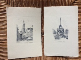 2 GRAVURES  *ANVERS Le Marche Aux Œufs  *LE VIEUX LIÈGE Le Perron (1885)  BELGIQUE - Stampe & Incisioni
