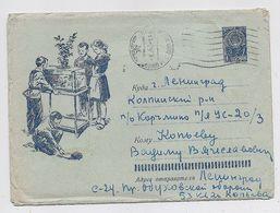 Stationery 1962 Cover Used Mail USSR RUSSIA Children Scout Pioneer Fish Hedgehog Leningrad Fauna - 1960-69