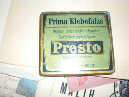 Old Tin Box Prima Klebefalze Reiner Arabischer Gummi Durchsichtiges Papier Presto - Cajas/Cofres