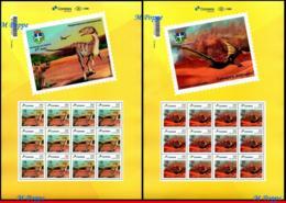 Ref. BR-V2019-64-F BRAZIL 2019 PREHISTORIC ANIMALS, DINOSAURS IN CRUZEIRO, DO OESTE - PR, PERSONALIZED SHEETS MNH 24V - Brasil