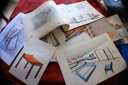 LOT DE 21 DESSINS D'ARCHITECTE D'INTÉRIEUR;ORIGINAUX-PEINT & DESSINÉS SUR GRAND CARNET CALQUES & PAPIER CARTON RIGIDE - Other Collections