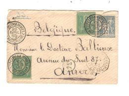 REF1439/ TP 75 (2) - 90 Sage S/L. C.2 Trésors & Postes Aux Armées 2 Madagascar 29/4/1895 > Belgique Anvers C.21/5/95 - Marcophilie (Lettres)