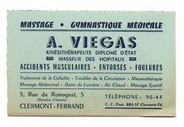Carte De Visite Massage - Gymnastique Médicale A. Viegas Kinésithérapeute Clermont-Ferrand - Visiting Cards