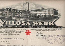 ! Dekorativer Briefbogen 1935 Villosa Werk Hagen In Westfalen An Fa. Menck, Altona - Germania
