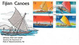 FIJI - LOT De 4 FDC - FIJIAN CANOES, AVIATION PROGRESS, HIBISCUS FESTIVAL, FESTIVALS - Fiji (1970-...)