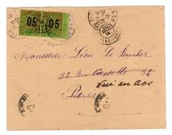 Guyane - Rare - Chiffres Espacés En Paire Avec Normal YV 68A Et 68 Sur Lettre De Cayenne Pour La France , 1914 - Guyane Française (1886-1949)