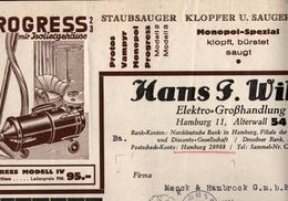 ! Alte Rechnung 1931, Progress Staubsauger, Hamburg An Fa. Menck, Altona - Germania