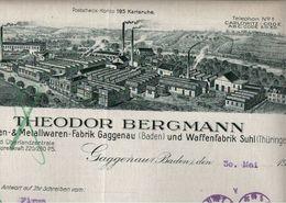 ! Briefbogen 1932, Theodor Bergmann, Gaggenau, Suhl, An Fa. Menck, Hamburg Altona - Germania