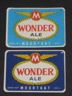 2x Oud Etiket WONDER ALE Brouwerij DUVEL MOORTGAT BREENDONK - Cerveza