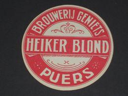 Oud Etiket HEIKER BLOND Brouwerij GENIETS Te PUERS Puurs - Cerveza