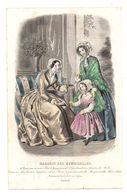 Gravure De Deux Dames Offrant Un Cadeau à Une Fillette Dans Un Salon En 1849 - Magasin Des Demoiselles - Stampe & Incisioni