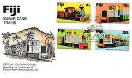 FIJI - LOT De 2 FDC : SUGAR CANE TRAINS, 25ème Anniversary AIR SERVICES IN FIJI - Fiji (1970-...)