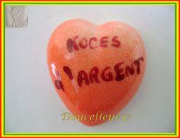 Clamecy ... Coeur Rouge écrit Grenat... Noces D'Argent .. Ref : Avant 1993 - Oude