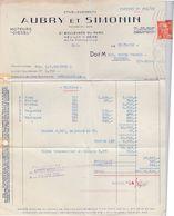 "1952 / Facture AUBRY SIMONIN / Moteurs ""Diesel"" / 92 Neuilly Sur Seine - Francia"