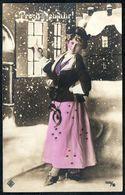 D7958 - Hübsche Junge Frau Im Kleid - Mode Frisur - Coloriert - Pretty Young Women - Glückwunschkarte Neujahr - Mode