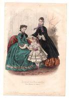 Gravure De Deux Dames Etune Fillette Avec Un Livre En 1862 - Journal Des Demoiselles - Stampe & Incisioni