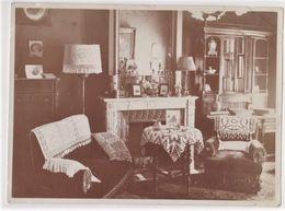 4 Photos  Intéressantes D'un Intérieur Bourgeois Ameublement Décoration Piano Bibliothèque .. Alsace Circa 1910 - Objets