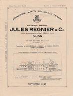 Tarif 4 Pages / Jules REGNIER / Dijon 21 / Propriétaire Vosne-Romanée, Vougeot, Chambolle-Musigny, Gevrey-Chambertin - Francia